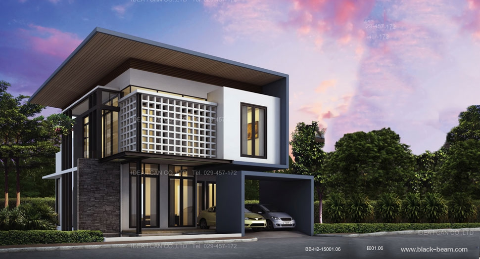 Bb h2 modern style 2 3 for River view house plans